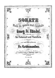 Sonate für Viola da Gamba und Cembalo in C-Dur: Version für Cello und Klavier by Georg Friedrich Händel