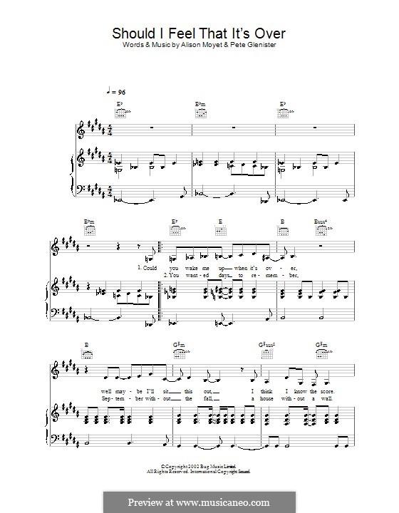 Should I Feel That It's Over: Für Stimme und Klavier (oder Gitarre) by Pete Glenister
