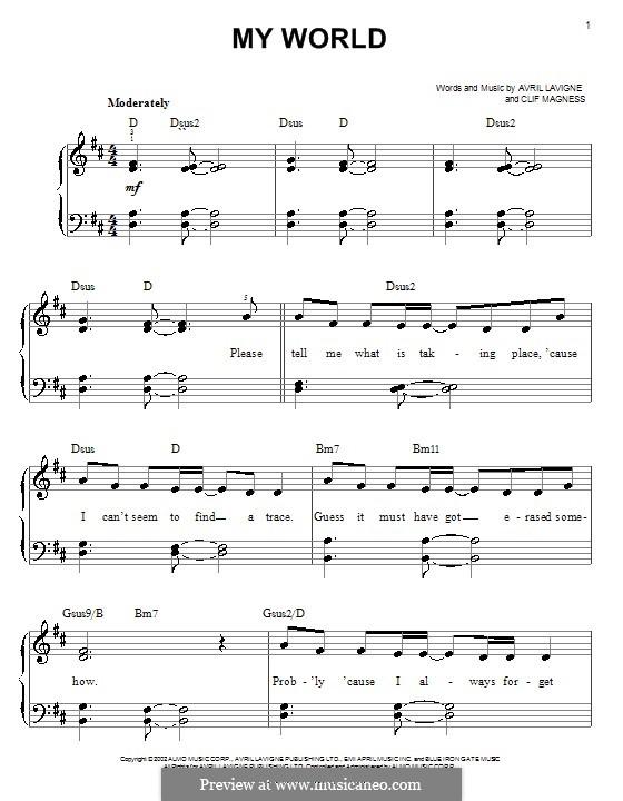 My World: Einfache Noten für Klavier by Avril Lavigne, Clifton Magness