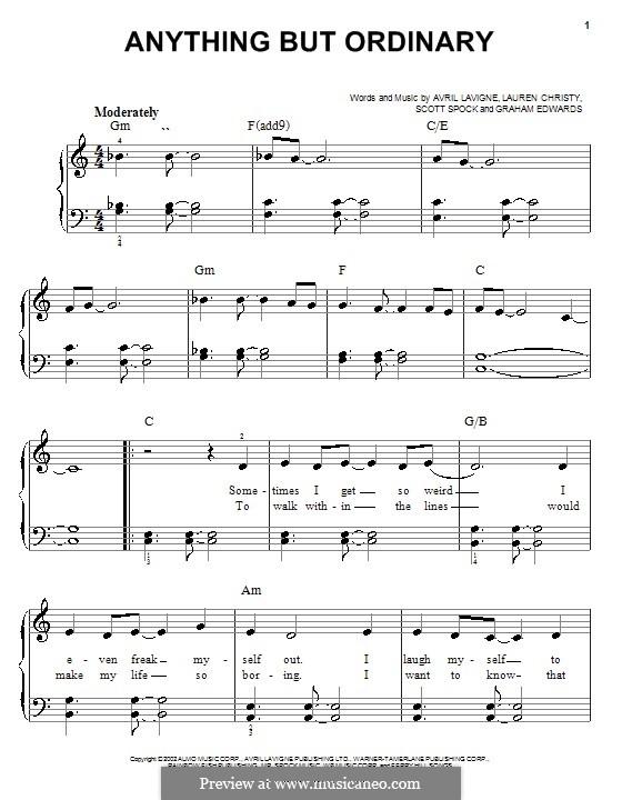 Anything But Ordinary: Für Klavier, leicht by Avril Lavigne, Graham Edwards, Lauren Christy, Scott Spock