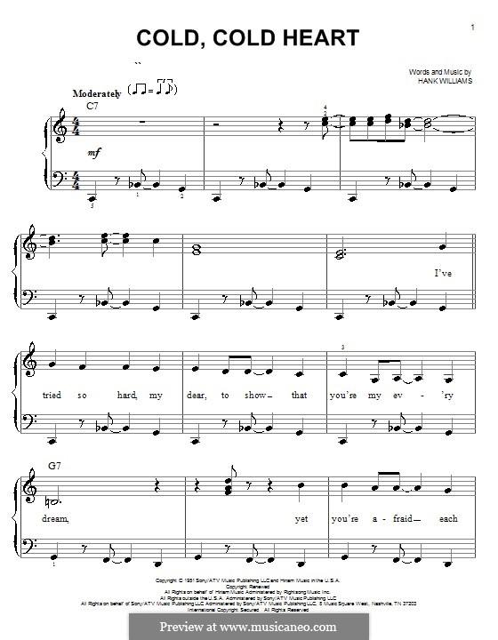 Cold, Cold Heart: Für Klavier, leicht by Hank Williams