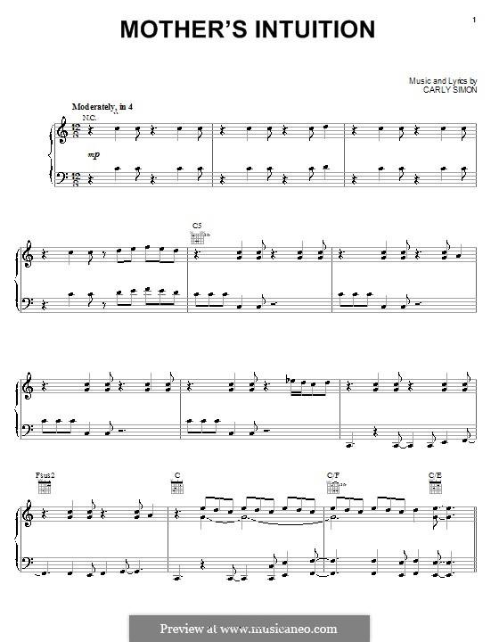 Mother's Intuition (from Piglet's Big Movie): Für Stimme und Klavier (oder Gitarre) by Carly Simon