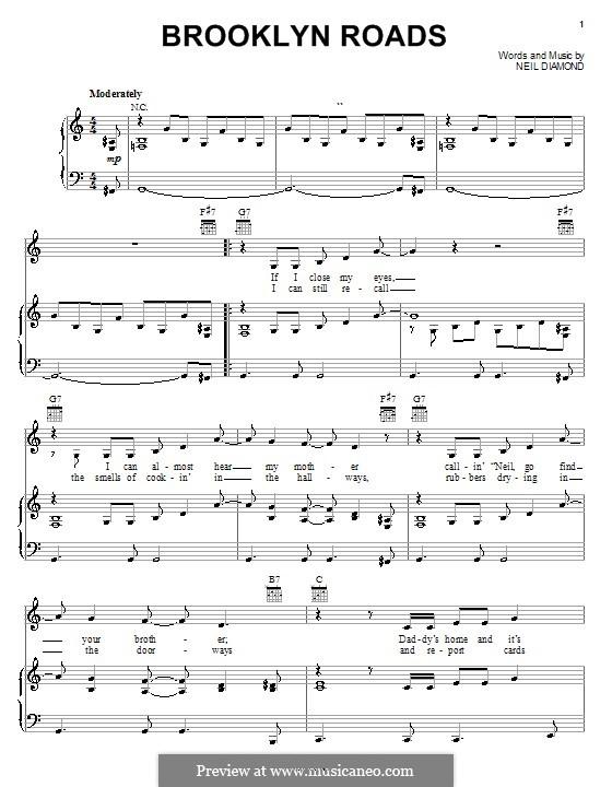 Brooklyn Roads: Für Stimme und Klavier (oder Gitarre) by Neil Diamond