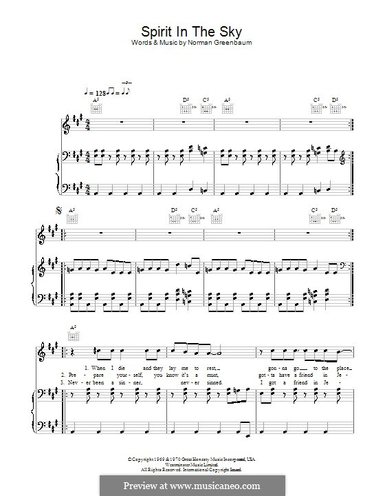 Spirit in the Sky: Für Stimme und Klavier (oder Gitarre) by Norman Greenbaum