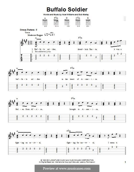 Buffalo Soldier (Bob Marley): Für Gitarre (Sehr leichte Fassung) by Noel Williams