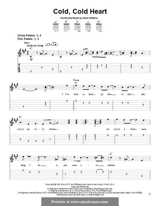 Cold, Cold Heart: Für Gitarre (Sehr leichte Fassung) by Hank Williams