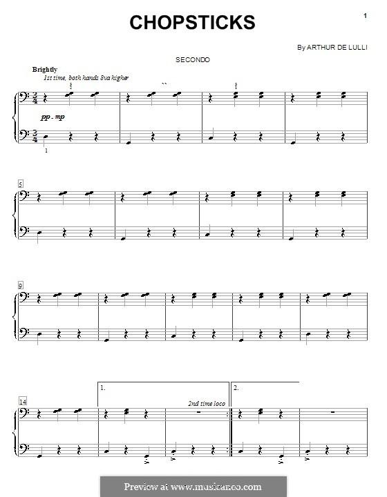 Chopsticks: Für Klavier, vierhändig by Arthur De Lulli