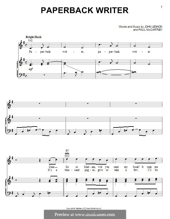 Paperback Writer (The Beatles): Für Stimme und Klavier (oder Gitarre) by John Lennon, Paul McCartney