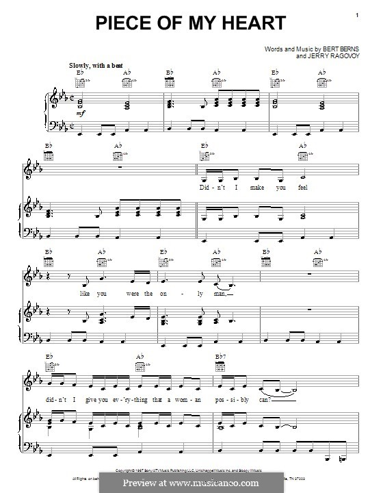 (Take a Little) Piece of My Heart: For voice and piano or guitar (Janis Joplin) by Bert Berns, Jerry Ragovoy