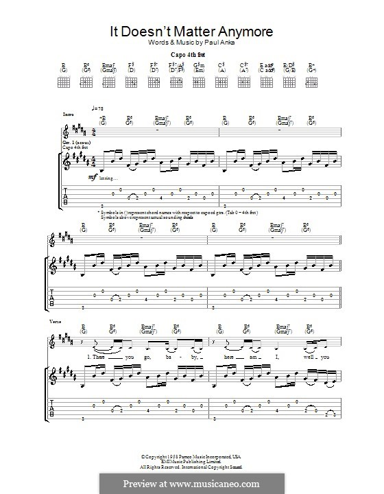 It Doesn't Matter Anymore: Für Gitarre mit Tab by Paul Anka