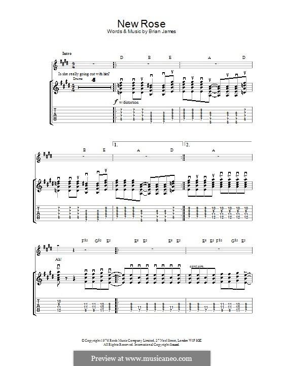 New Rose (The Damned): Für Gitarre mit Tabulatur by Brian James