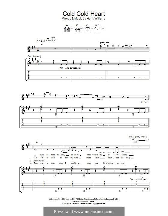 Cold, Cold Heart: Für Gitarre mit Tabulatur by Hank Williams