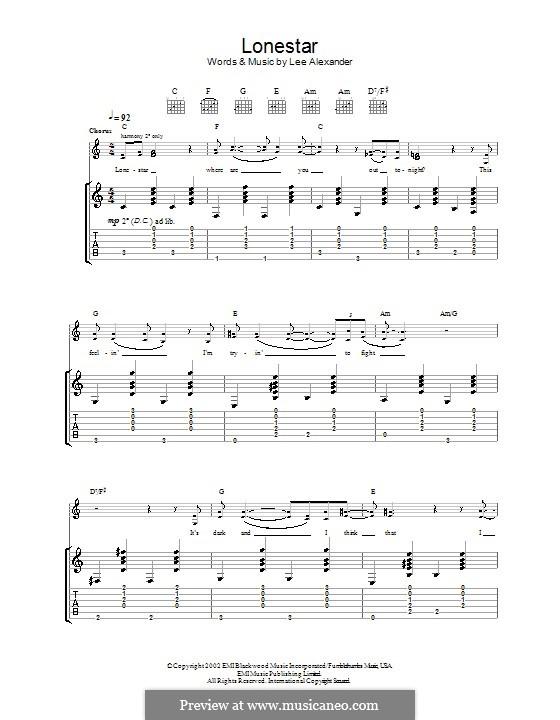 Lonestar (Norah Jones): Für Gitarre mit Tab by Lee Alexander