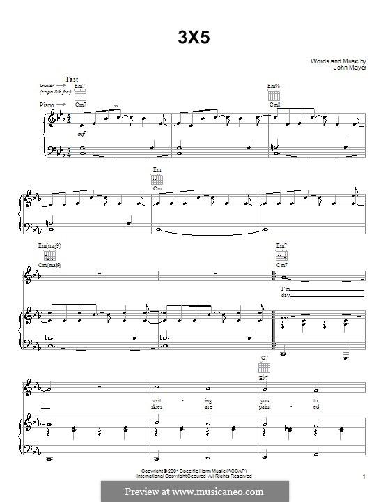 3X5: Für Stimme und Klavier (oder Gitarre) by John Mayer