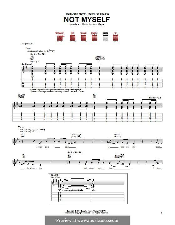 Not Myself: Für Gitarre mit Tabulatur by John Mayer