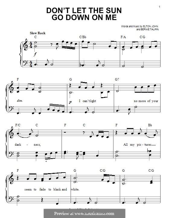 Don't Let the Sun Go Down on Me: Für Klavier, leicht by Elton John