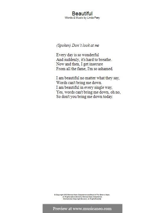 Beautifull (Christina Aguilera & Beverly McClellan): Text by Linda Perry