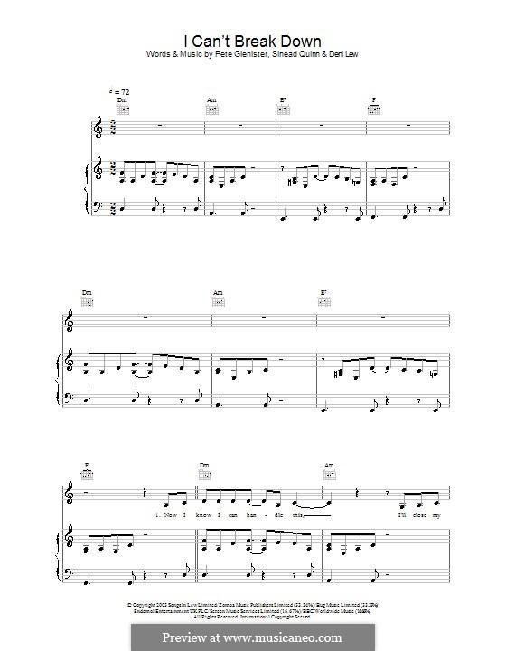 I Can't Break Down: Für Stimme und Klavier (oder Gitarre) by Deni Lew, Pete Glenister, Sinead Quinn