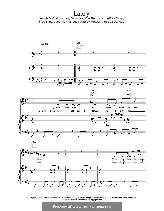 Lately (Massive Attack): Für Stimme und Klavier (oder Gitarre) by Gus Redmond, Jeffrey Simon, Larry Brownlee