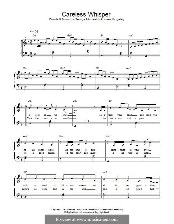 Careless Whisper: Für Klavier, leicht by Andrew Ridgeley, George Michael
