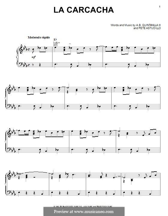 La Carcacha (A.B. Quintanilla III): Für Stimme und Klavier (oder Gitarre) by Pete Astudillo