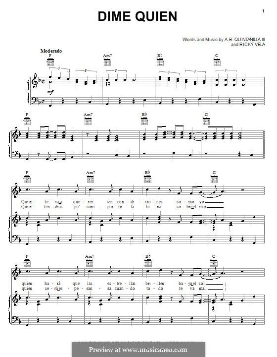 Dime Quien: Für Stimme und Klavier (oder Gitarre) by Ricky Vela