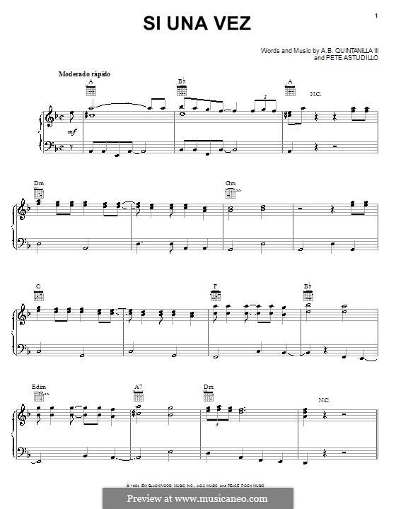Si Una Vez (A.B. Quintanilla III): Für Stimme und Klavier (oder Gitarre) by Pete Astudillo
