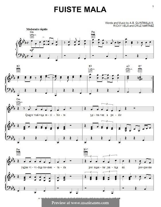 Fuiste Mala: Für Stimme und Klavier (oder Gitarre) by Cruz Martinez, Ricky Vela