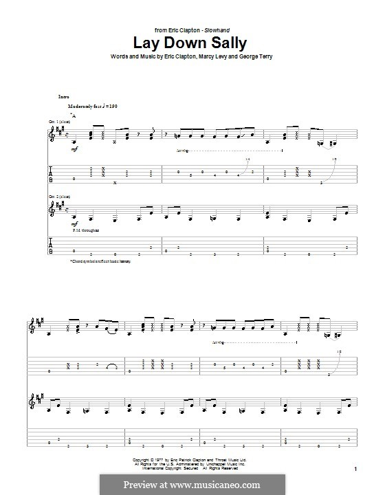 Lay Down Sally: Für Gitarre mit Tabulatur by George Terry, Marcy Levy