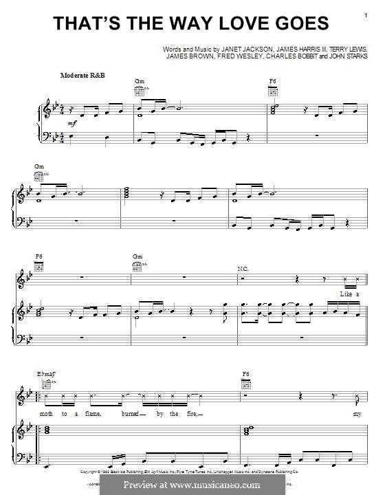 That's the Way Love Goes: Für Stimme und Klavier (oder Gitarre) by Charles Bobbitt, Fred Wesley, James Brown, James Samuel Harris III, Janet Jackson, John Starks, Terry Lewis