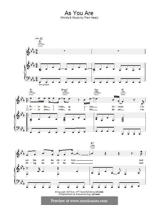 As You Are (Travis): Für Stimme und Klavier (oder Gitarre) by Fran Healy