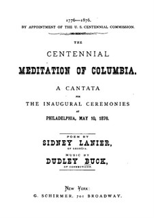 The Centennial Meditation of Columbia: The Centennial Meditation of Columbia by Dudley Buck