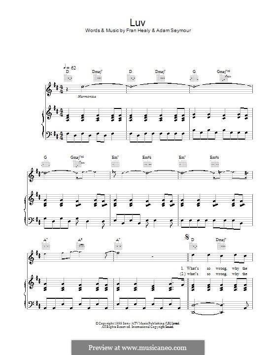 Luv (Travis): Für Stimme und Klavier (oder Gitarre) by Adam Seymour, Fran Healy