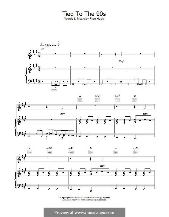 Tied to the 90s (Travis): Für Stimme und Klavier (oder Gitarre) by Fran Healy