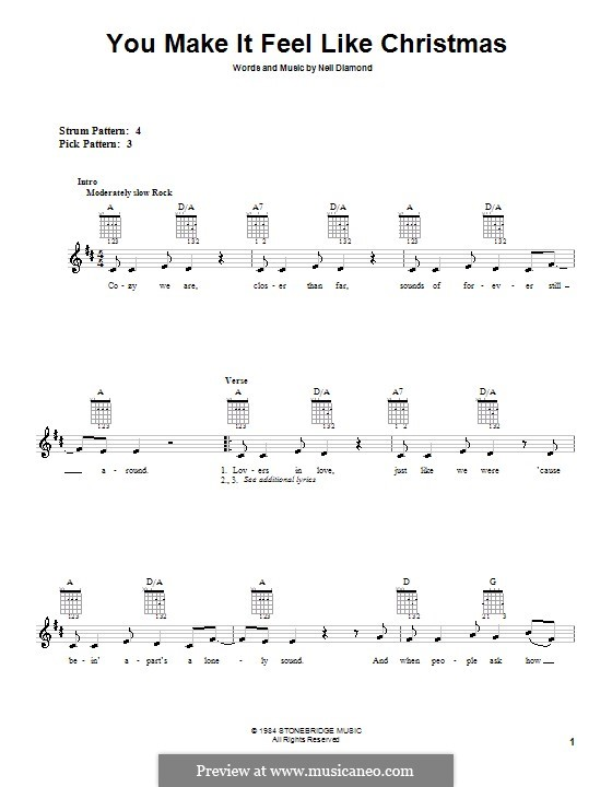 You Make It Feel Like Christmas: Für Gitarre (Sehr leichte Fassung) by Neil Diamond