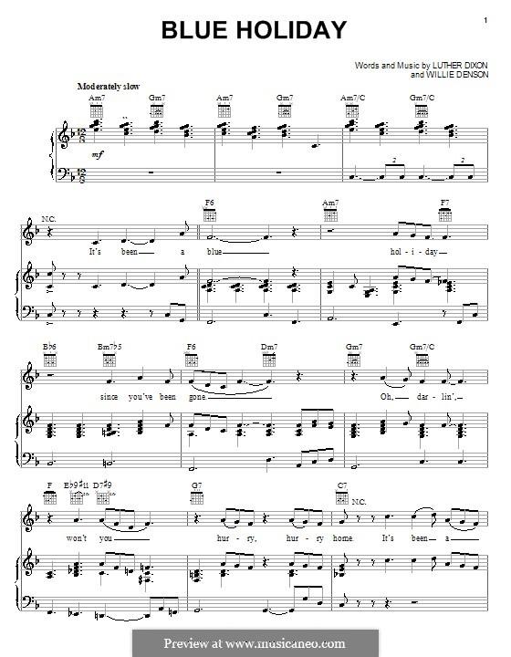 Blue Holiday (Luther Dixon): Für Stimme und Klavier (oder Gitarre) by Willie Denson