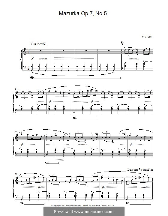 Mazurkas, Op.7: Nr.5 in C-Dur by Frédéric Chopin