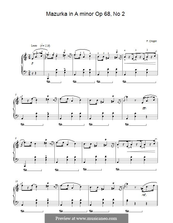 Mazurkas, Op. posth.68: Nr.2 in a-Moll by Frédéric Chopin