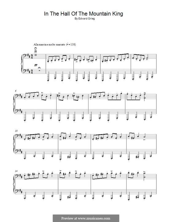 Suite Nr.1. In der Halle des Bergkönigs, Op.46 No.4: Für Klavier by Edvard Grieg
