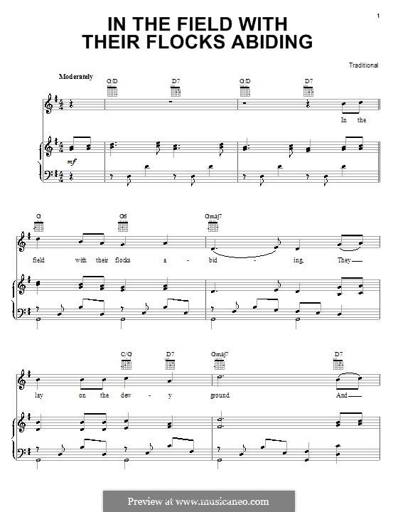 In the Field with Their Flocks Abiding: Für Stimme und Klavier (oder Gitarre) by folklore