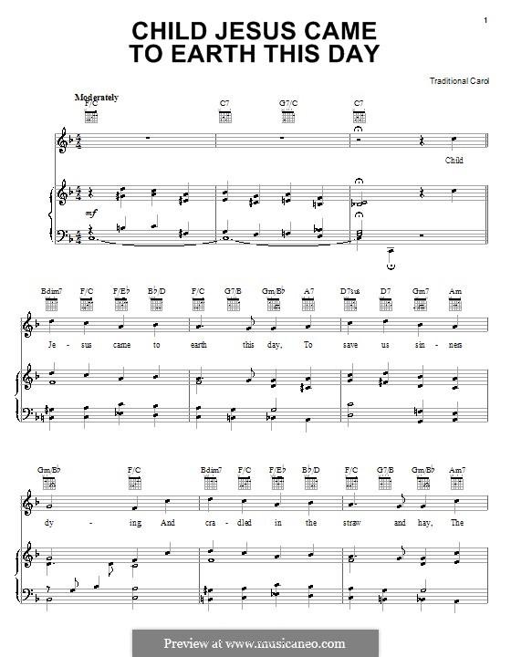 Child Jesus Came to Earth This Day: Für Stimme und Klavier (oder Gitarre) by folklore