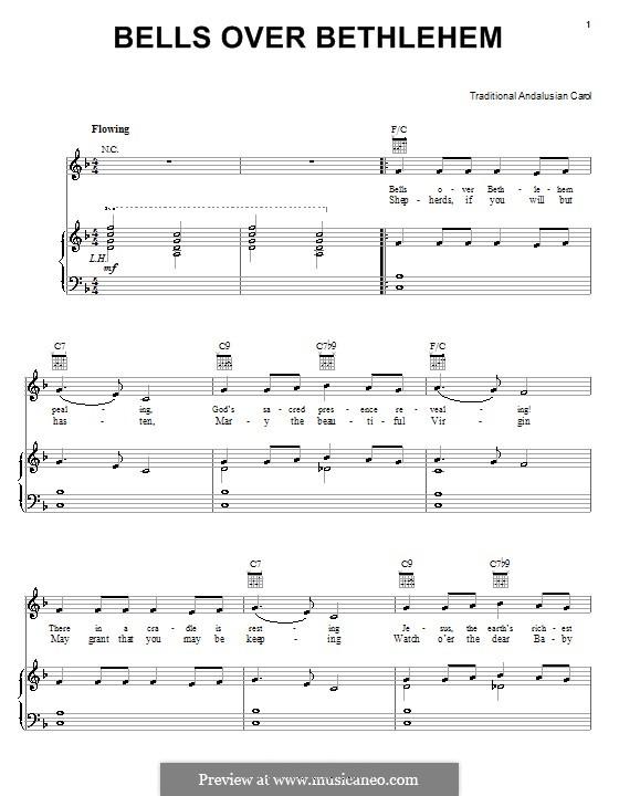 Bells Over Bethlehem: Für Stimme und Klavier (oder Gitarre) by folklore