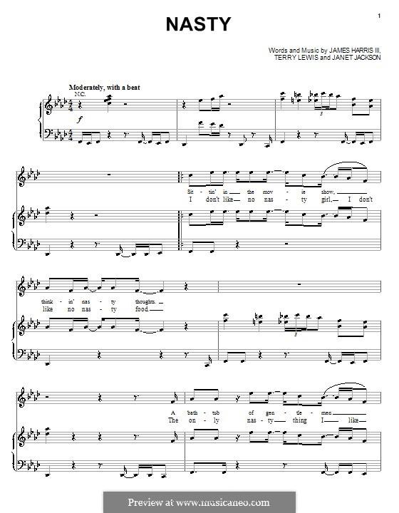 Nasty (Janet Jackson): Für Stimme und Klavier (oder Gitarre) by James Samuel Harris III, Terry Lewis