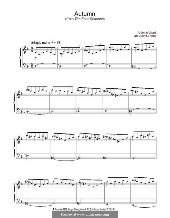 Violinkonzert Nr.3 in F-Dur 'Herbst', RV 293: Teil II. Bearbeitung für Klavier by Antonio Vivaldi
