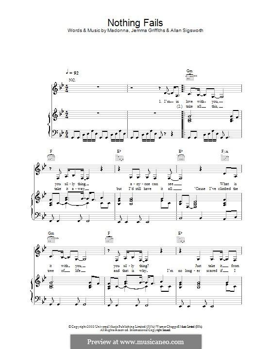 Nothing Fails (Madonna): Für Stimme und Klavier (oder Gitarre) by Allan Sigsworth, Jemma Griffiths