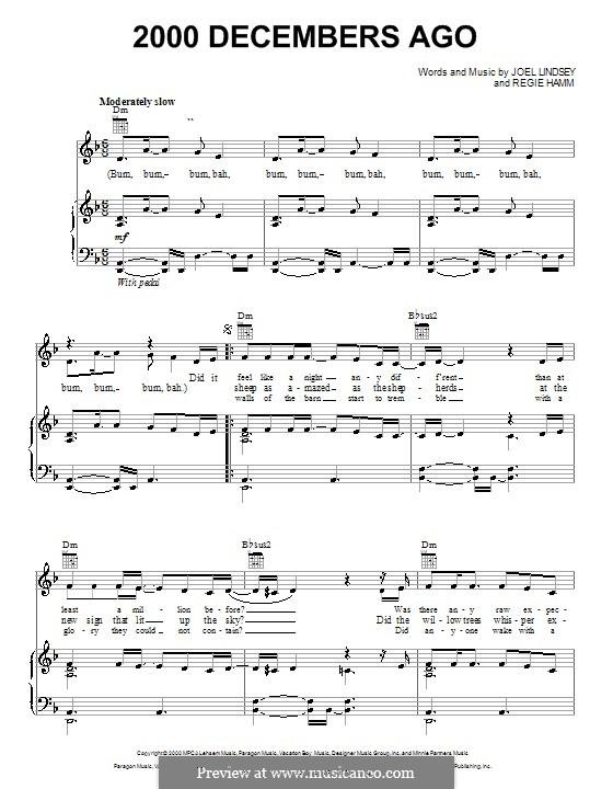 2000 Decembers Ago: Für Stimme und Klavier (oder Gitarre) by Joel Lindsey, Regie Hamm