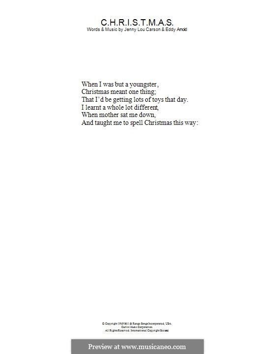 C-H-R-I-S-T-M-A-S (Perry Como): Text by Eddy Arnold