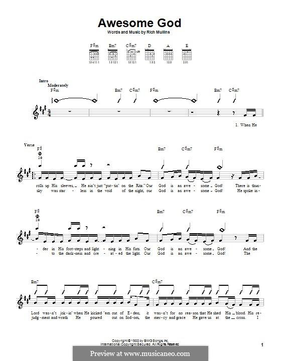 Awesome God: Für Gitarre (mit Schlagmuster) by Rich Mullins