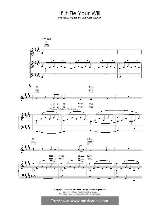 If It Be Your Will: Für Stimme und Klavier (oder Gitarre) by Leonard Cohen