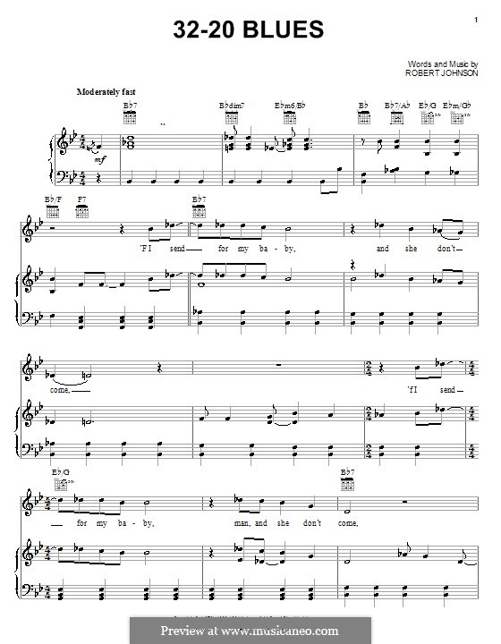 32-20 Blues (Eric Clapton): Für Stimme und Klavier (oder Gitarre) by Robert Leroy Johnson